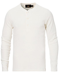 RRL Long Sleeve Cotton Henley Paper White