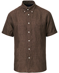Eton Slim Fit Short Sleeve Linen Shirt  Brown
