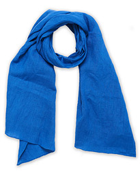 Drake's Solid Linen Scarf Blue