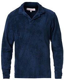 Orlebar Brown Terry Long Sleeve Polo Navy