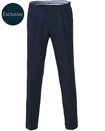 Morris Heritage Carl Double Pleated Wool Trousers Navy