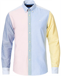 Jerome Patchwork Oxford Button Down Shirt Blue