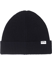Ribbed Wool/Cashmere Beanie Navy