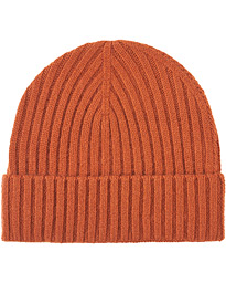 Rib Knitted Cashmere Cap Rust Orange