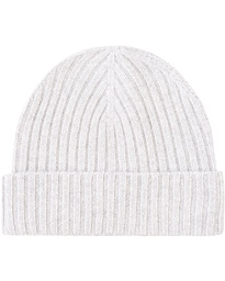 Rib Knitted Cashmere Cap Light Grey