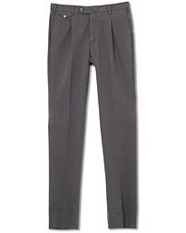 PT01 Gentleman Fit Pleated Cotton Trousers Grey