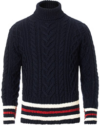 Thom Browne Aran Cable Knitted Turtleneck Navy