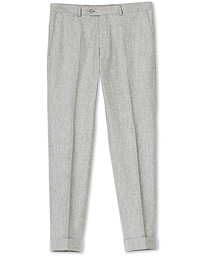 Dean Turn Up Flannel Trousers Light Grey