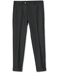 Dean Turn Up Flannel Trousers Charcoal