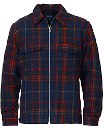 Wool Blend Check Zip Overshirt Multi