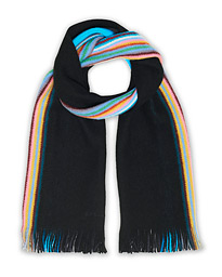 Reversible Multi Edge Ombre Wool Scarf Black
