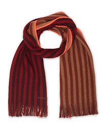 Paul Smith Reversible Simple Two Stripe Wool Scarf Burgundy