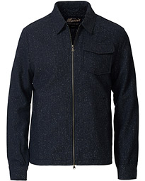 Dulwich Donegal Full Zip Overshirt Blue