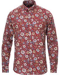 Nash Printed Flower Button Down Shirt Wine Red