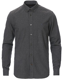 Nelson Flannel Button Down Shirt Dark Grey