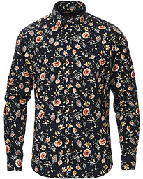 Ward Printed Flower Button Down Shirt Navy