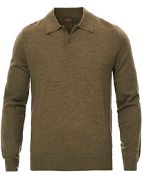 Merino Knitted Polo Green