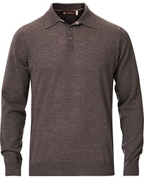 Knitted Merino Wool Poloshirt Brown