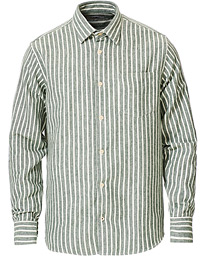 Errico Stripe Shirt Forest Green/White