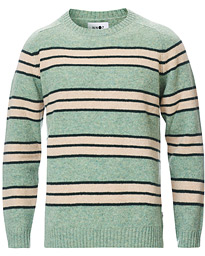 Nathan Stripe Brushed Crew Neck Mint Green