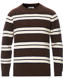 Nathan Stripe Brushed Crew Neck Brown