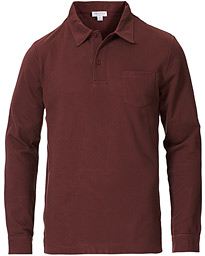 Sunspel Riviera Long Sleeve Polo Merlot