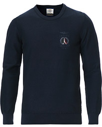 Washed Cotton Crew Neck Blu Navy