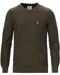 Washed Cotton Crew Neck Verde Scuro
