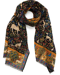 Drake's Wool/Silk Printed Mythical Forest Scarf Black