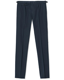 Slim Fit Pleated Cotton Trousers Navy