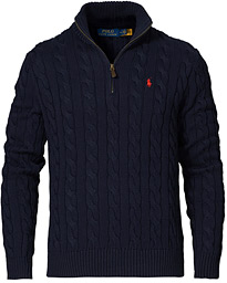 Cotton Cable Half-Zip Sweater Hunter Navy