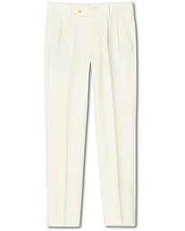 Double Pleated Summer Party Trousers Cream
