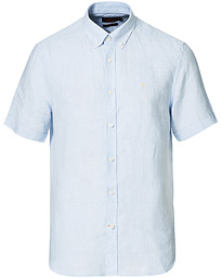 Douglas Linen Short Sleeve Shirt Light Blue