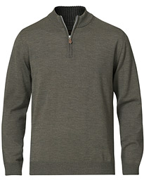 Merino Half Zip Green