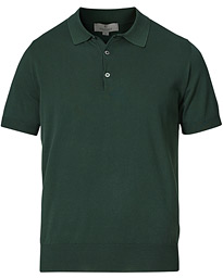 Cotton Short Sleeve Knitted Polo Bottle Green