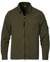 Garment Dyed Gabardine Zip Shirt Jacket Olive
