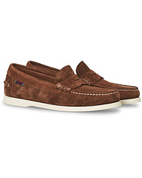 Dan Boatshoe Suede Penny Dark Brown