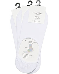 3-Pack True Cotton Invisible Socks White