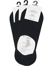 3-Pack True Cotton Invisible Socks Dark Navy