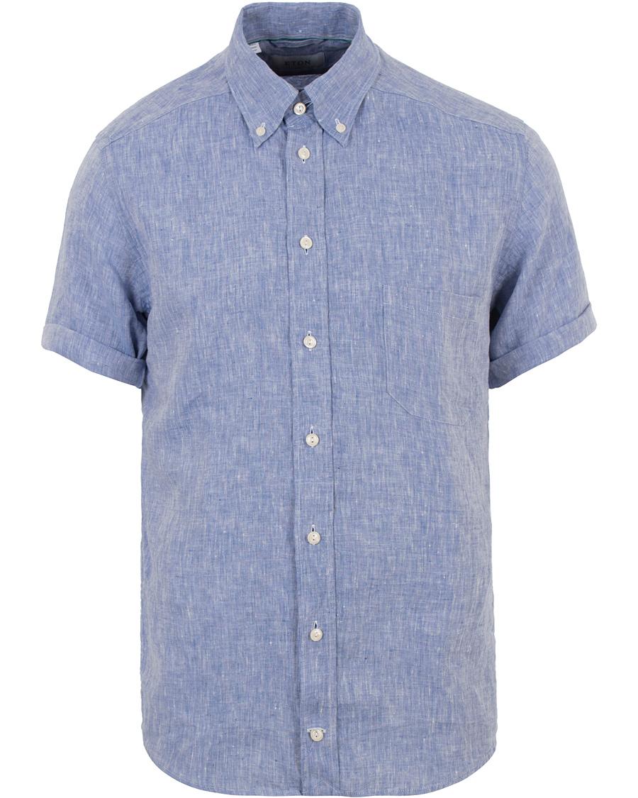 f591b9b6 Eton Slim Fit Linen Short Sleeve Shirt Light Blue hos CareOfCarl.
