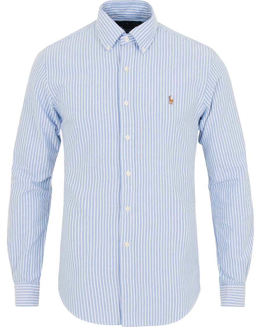 6edd97b42da78 Polo Ralph Lauren Slim Fit Oxford Stripe Shirt Blue White hos Car