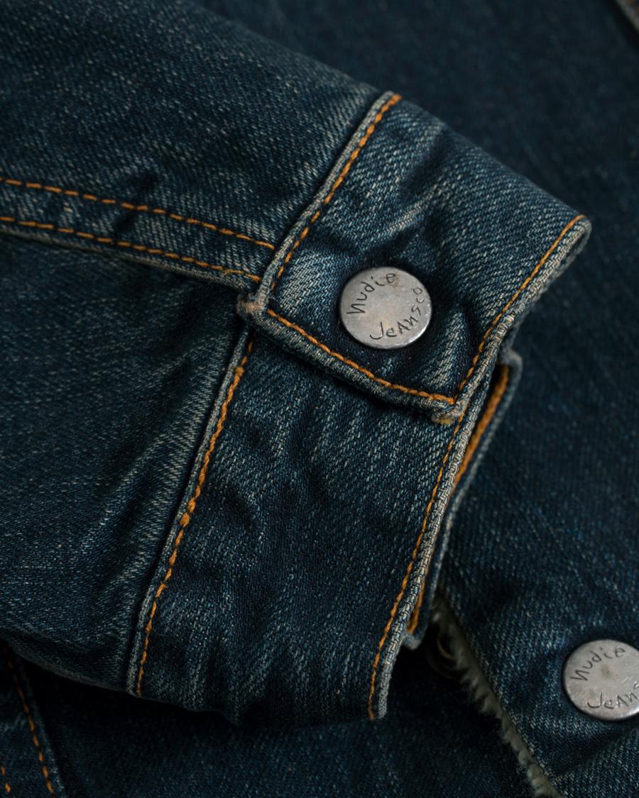 Nudie Jeans Lenny Indigo Steel Denim Shearling Jacket Blue