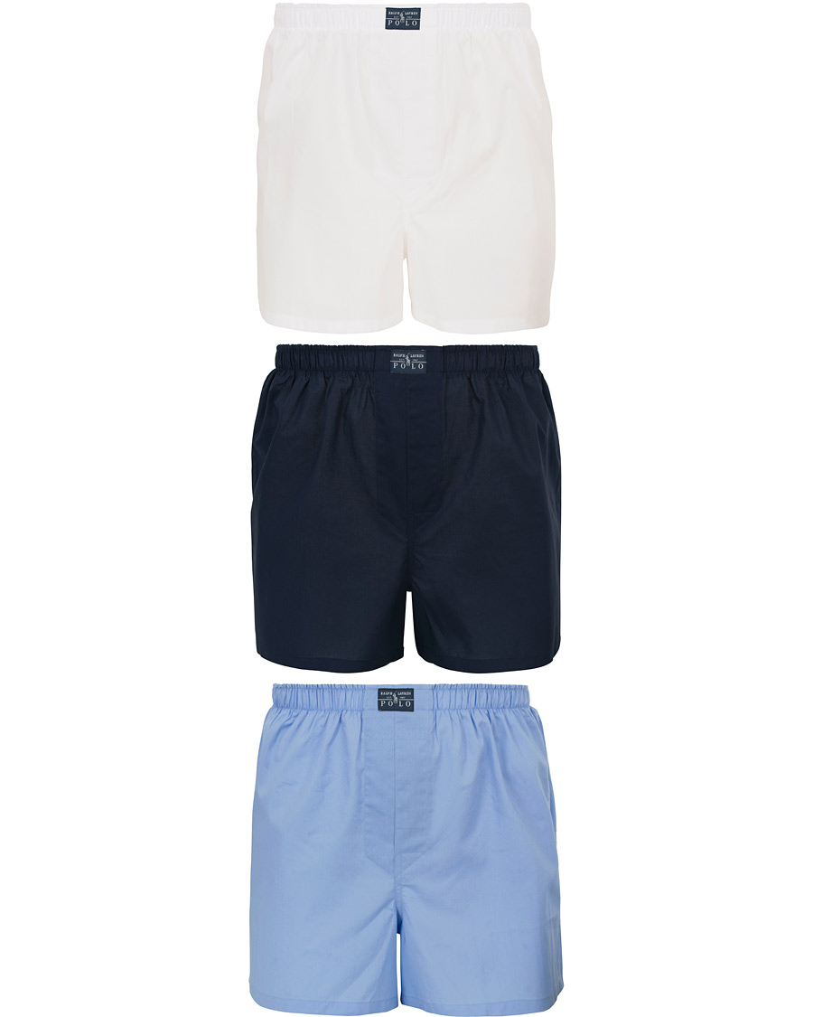 421961a8c Polo Ralph Lauren 3-Pack Woven Boxer White Blue Navy hos CareOfCa