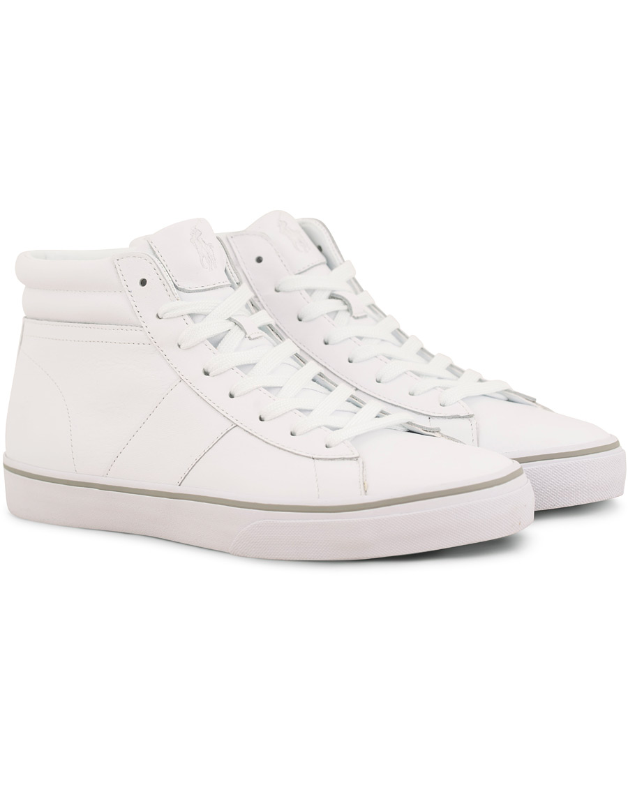 Polo Ralph Lauren Shaw Mid High Leather Sneaker White hos