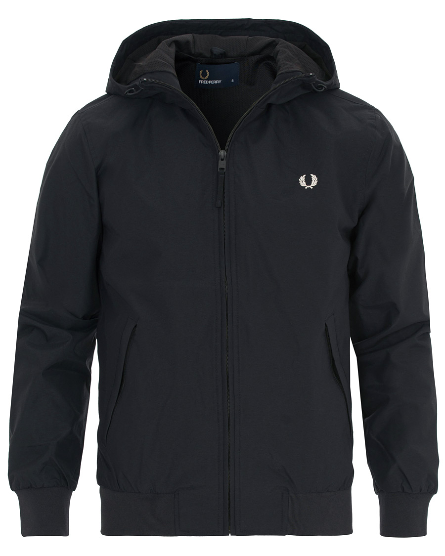 Super Fred Perry Hooded Brentham Jacket Navy hos CareOfCarl.dk QF-75