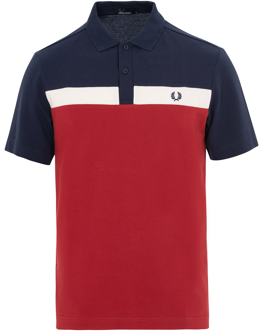 Fred Perry Contrast Panel Piké NavyWhiteRed hos CareOfCarl.dk