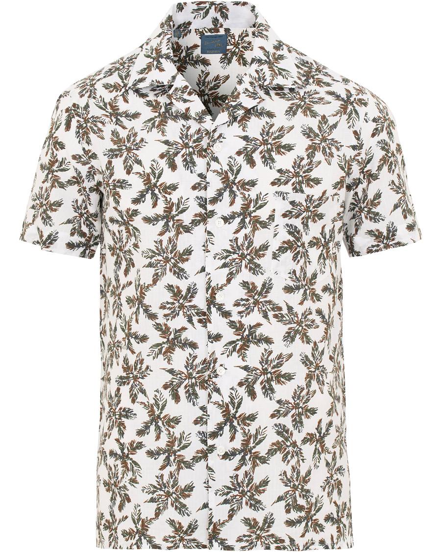 ca679d091b Barba Napoli Short Sleeve Linen Palmtree Camp Collar Shirt White