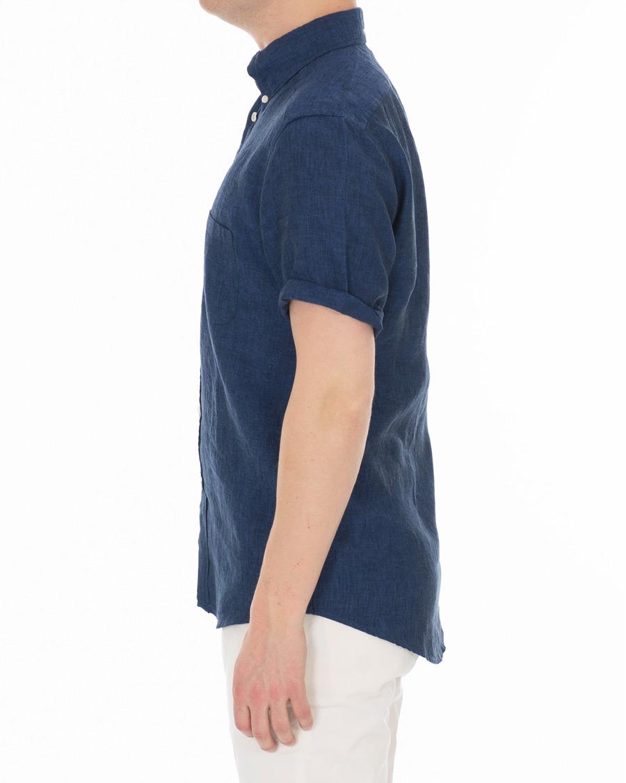 91e36c5b Eton Slim Fit Linen Short Sleeve Shirt Dark Blue hos CareOfCarl.d